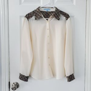 Antonio Melani Cream Tweed Button Down